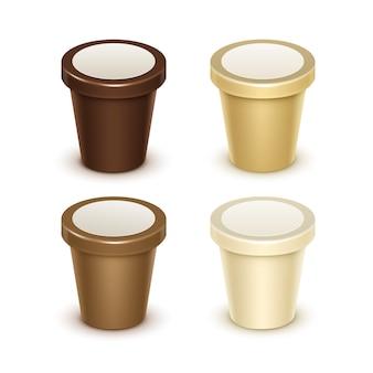 Set van bruine room lege voedsel plastic kuip emmer container voor vanille chocolade dessert yoghurt ijs zure room met label voor pakket close-up op witte achtergrond. Premium Vector