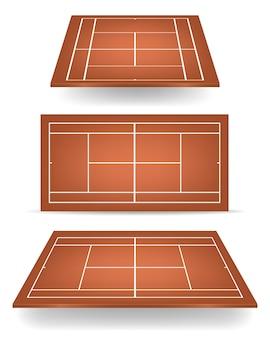 Set van bruine tennisbanen met perspectief.