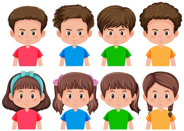 Set van brunette jongen en meisje karakter