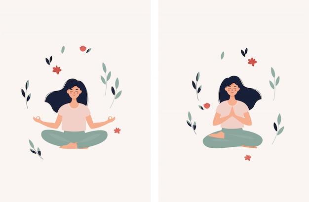 Set van brunette vrouw zitten in lotuspositie met bladeren en bloemen
