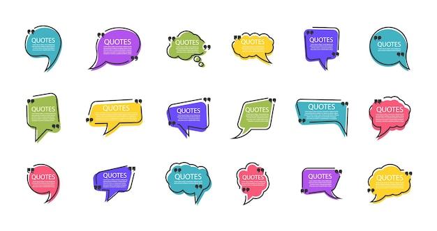 Set van bubbels citaatsjabloon in een plat ontwerp