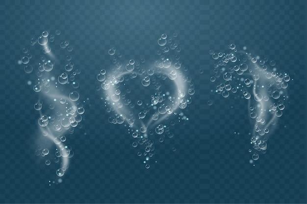 Set van bubbels onder water geïsoleerde vectorillustratie op transparante achtergrond bubble fizz air