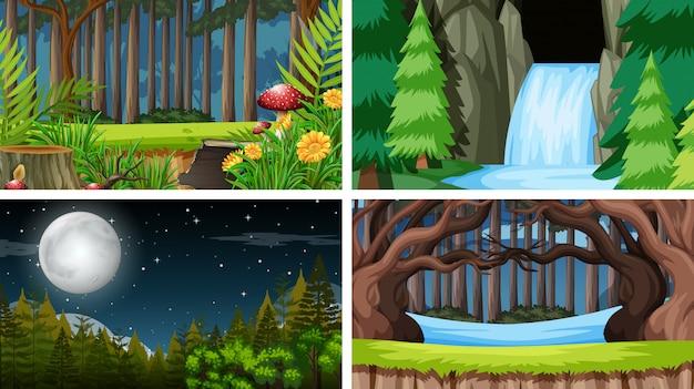 Set van buiten natuur scènes lege lege sjablonen
