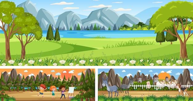 Set van buiten panoramisch landschap met stripfiguur