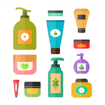 Set van buizen en flesjes cosmetica