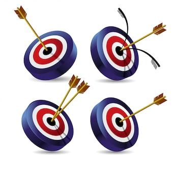 Set van bullseye 3d pictogram vectorillustratie