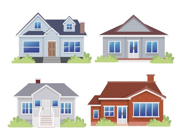 Set van bungalow huis platteland huis vlakke afbeelding