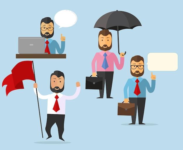 Set van business man characterdesign. vectorillustratie, geïsoleerd op blauwe achtergrond