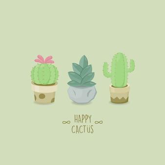 Set van cactus. verzameling van exotische planten.