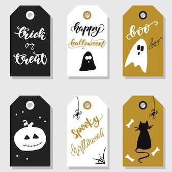Set van cadeau-tags van halloween. vector illustratie.