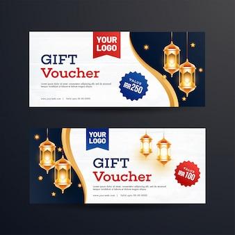 Set van cadeaubon of coupon lay-out met verlichte lantaarns een