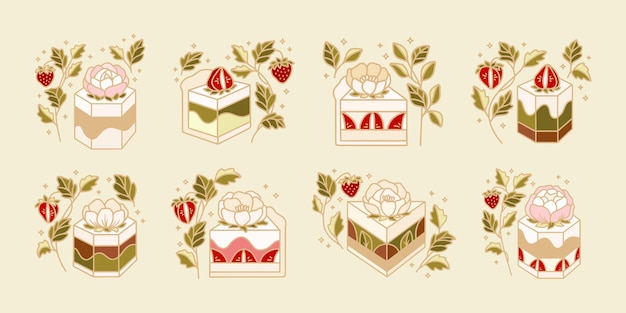 Set van cake, gebak, bakkerij-logo-elementen met aardbei, bloemen en bladtak