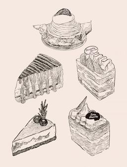 Set van cake, mont blanc, banoffee, strawbeey verse roomlaag cake, bosbessen kaascake en chocoladebescake. hand tekenen schets vector.