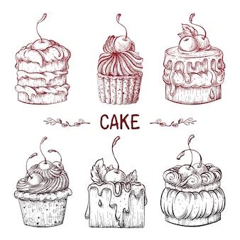 Set van cakes met kersen.