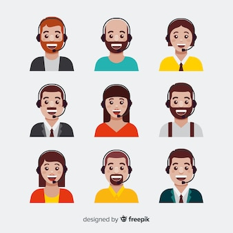 Set van callcenter-avatars in vlakke stijl