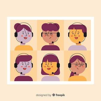 Set van callcenter avatars