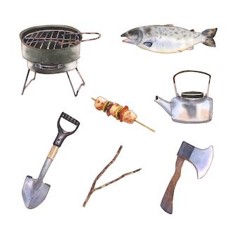 Set van camping design element aquarel, hand getrokken illustratie