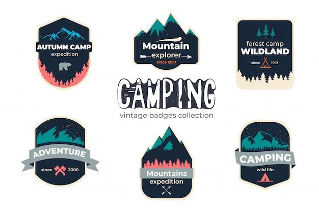 Set van camping outdoor avontuur badge logo