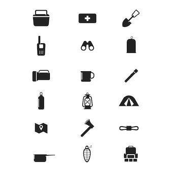 Set van camping pictogram