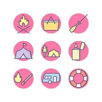 Set van camping pictogrammen