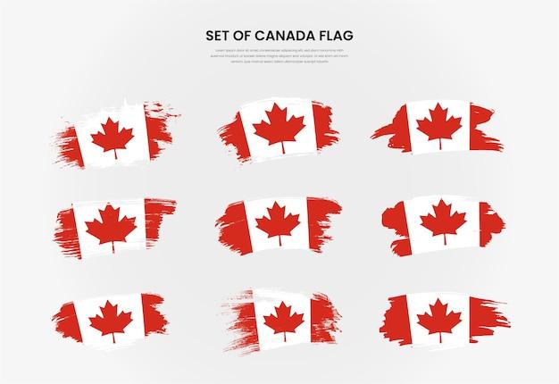 Set van canada land grunge penseelstreek vlaggen collectie