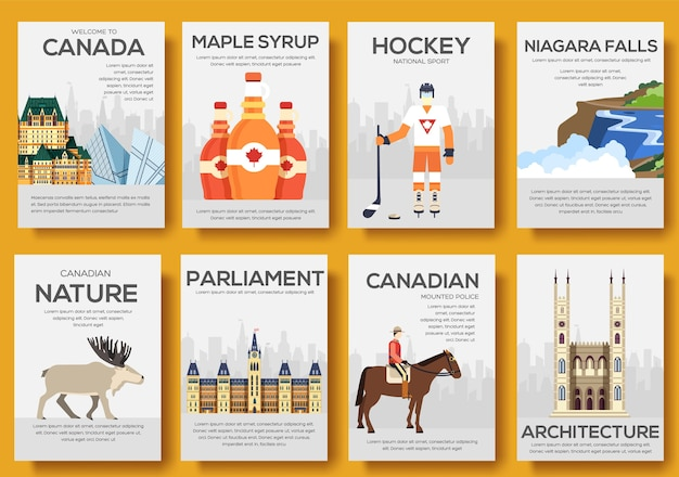 Set van canada land ornament reisreis. kunst traditioneel, poster, abstract, banners, element.