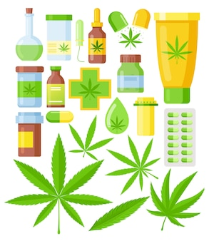 Set van cannabis medicijnen. medicinale marihuana set met glazen fles van hennepolie, cannabisblad