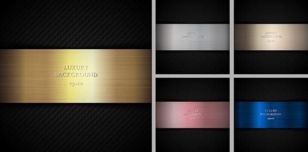 Set van carbon goud, zilver, roze goud, brons, koper metallic