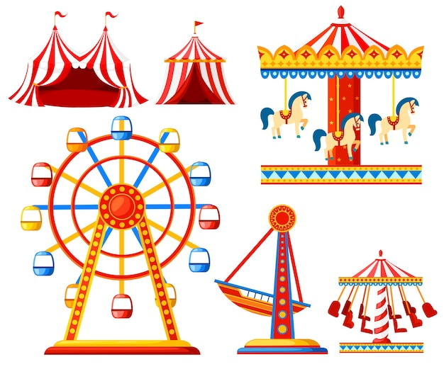 Set van carnaval circus iconen. pretpark collectie. tent, carrousel, reuzenrad, piratenschip. . illustratie
