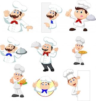 Set van cartoon chef-kok
