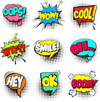 Set van cartoon comic speech bubbles Dialog wolken met woord en geluid illustratie