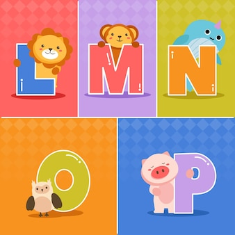 Set van cartoon grappige verschil engelse alfabetten van kleuters of kleuters
