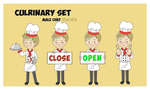 Set van cartoon karakter illustratie culrinaire, mannelijke chef-koks koken. professionele chef-kok set.