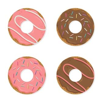 Set van cartoon kleurrijke donuts geïsoleerd op een witte achtergrond