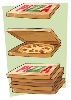 Set van cartoon pizzadoos