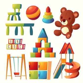 Set van cartoon speelgoed voor kinderen speeltuin, kleuterschool.