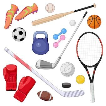 Set van cartoon sportuitrusting. vector illustratie van kleurrijke sportballen en gaming-items.