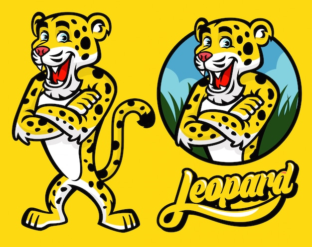 Set van cartoon van leopard karakter