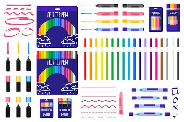 Set van cartoon vectorillustraties met gekleurde markeringen en viltstiften op witte achtergrond.