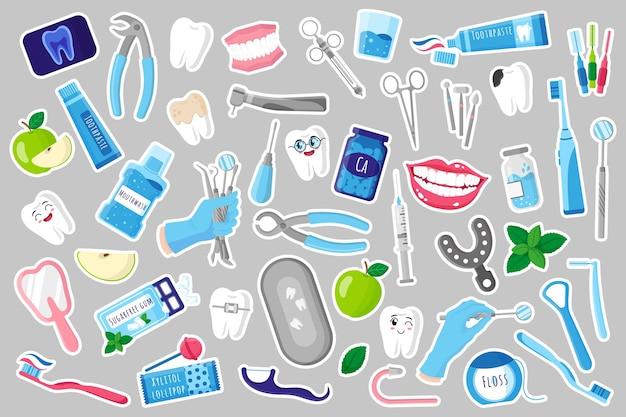 Set van cartoon vectorillustraties van stickers met medische tandheelkundige therapeutische, chirurgische en zorghulpmiddelen voor tandheelkundige behandeling, mondholte en tandverzorging. tandheelkundig begrip.