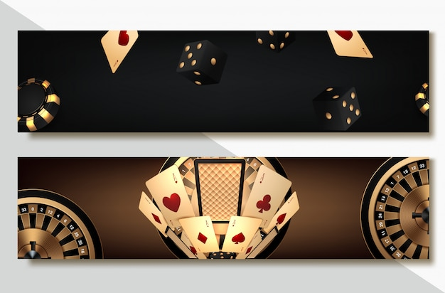 Set van casino banner set met casino chips en kaarten, poker club texas holdem