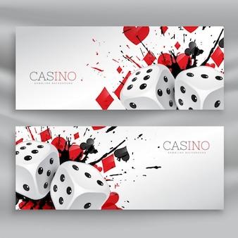 Set van casino banners met dobbelstenen en abstract inkt splash