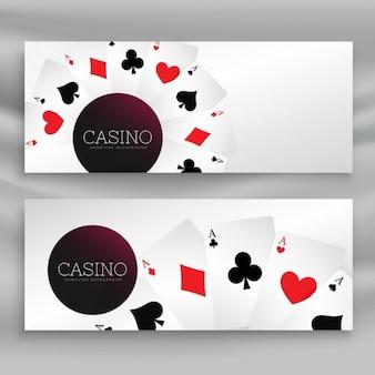 Set van casino banners met speelkaarten