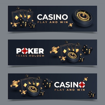 Set van casinobanners met casinofiches en kaarten. pokerclub texas hold'em. illustratie