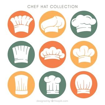 Set van chef-kok hoeden