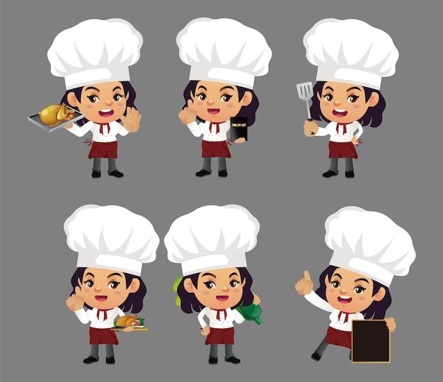 Set van chef-kok met verschillende poses