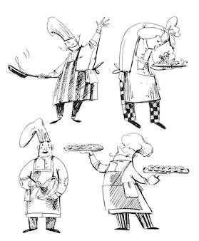 Set van chef-koks, lijntekeningen van bakker, chef-kok, koken. beroepen illustratie