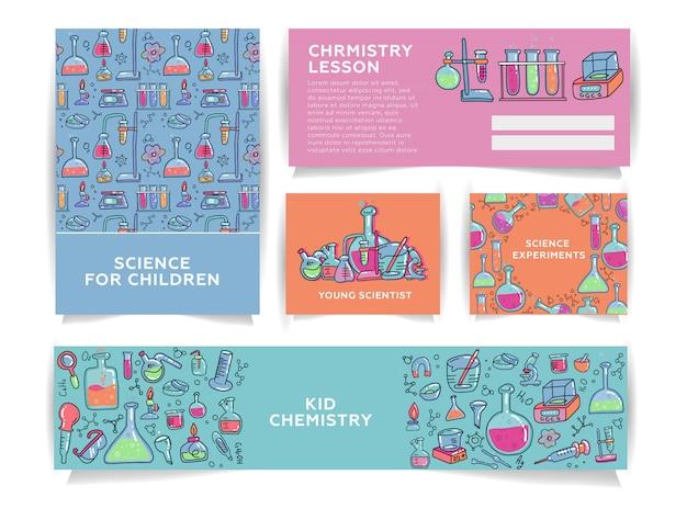 Set van chemie voor kinderen banner sjablonen. wetenschap voor kinderen schoolonderzoek in de scheikunde.