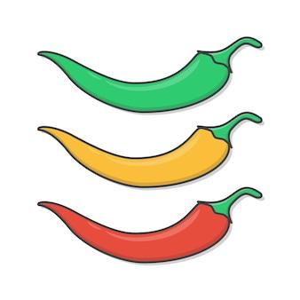 Set van chili peppers illustratie