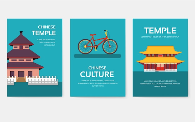 Set van china land ornament reizen tour concept. aziatisch traditioneel, tijdschrift, boek, poster, abstract, element.